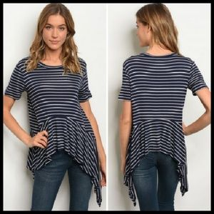 📍Final Price📍Ruffle Top, Striped Navy, NWT